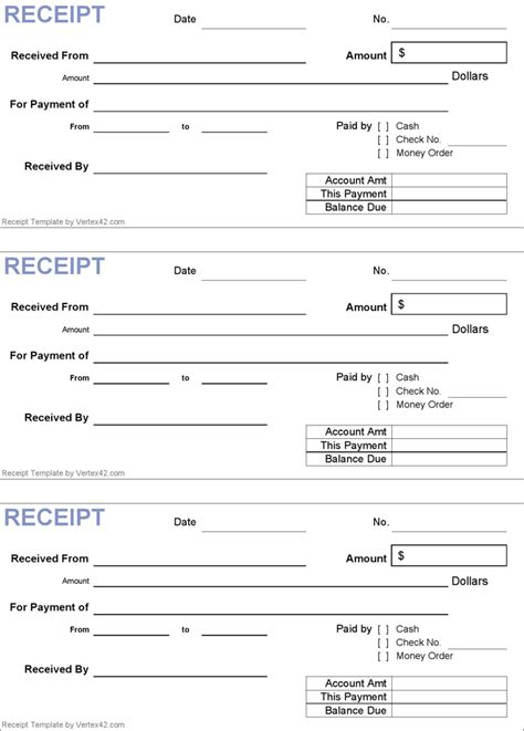 Free Rent Receipt Template Pdf by Generic Receipt Template Marketing In 2018