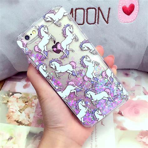 cartoon unicorn liquid glitter case cover  iphones    sedge note  ebay