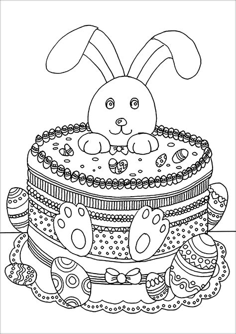 easter rabbit easter adult coloring pages