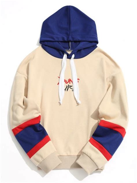 Embroidered Color Block Hoodie by Color Block Embroidered Hoodie Apricot Hoodies
