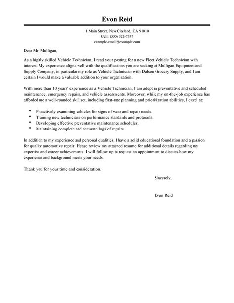 automotive technician cover letter sle my perfect