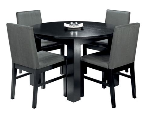 Dining Table And Chairs Black Cuba Black Circular Dining Table 4 Upholstered Dining Chairs