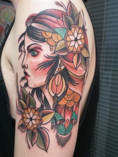 custom gypsy woman tattoo on upper arm by alexis thomson