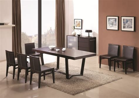 Modern Dining Sets by Extendable Wooden Top Leather Modern Dining Set With Leaf