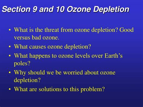 what is section 10 ppt section 9 and 10 ozone depletion powerpoint