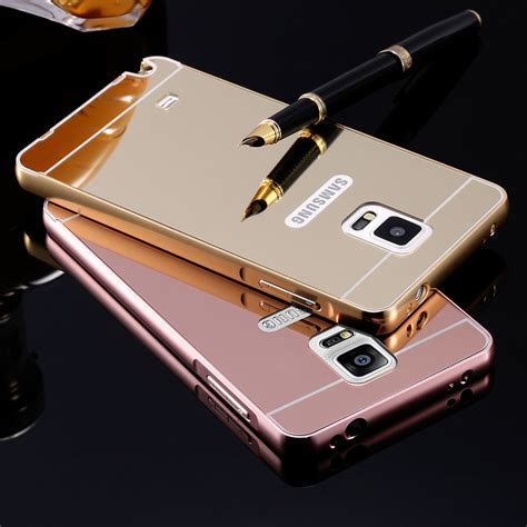 Murah Mirror Samsung J7 Alumunium Bumper Backcase note4 luxury ultra slim hybrid aluminum metal frame mirror acrylic back for samsung