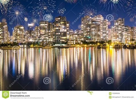 new year vancouver fireworks fireworks during new years in vancouver canada stock