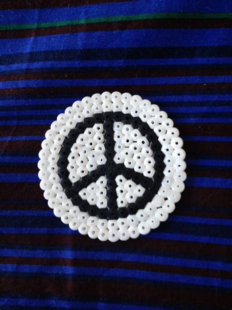 hama bead black  white peace coasters  beaded