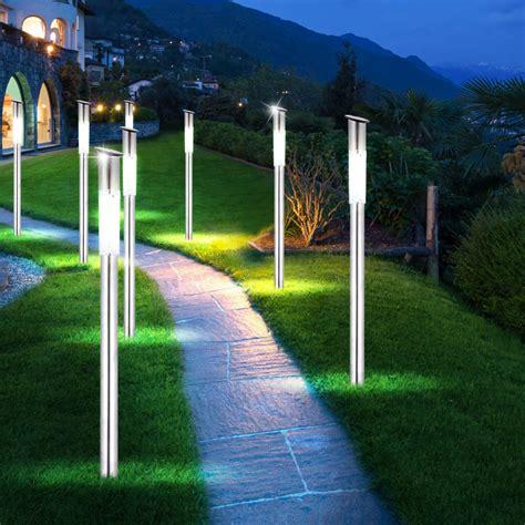 wegbeleuchtung led set 4 x led solar stainless steel standard stand garden l