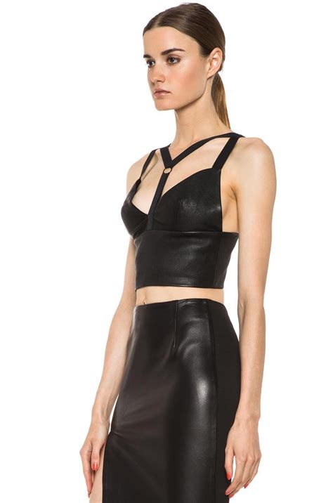 Batik Leather Croptop 3 cushnie et ochs leather crop top in black in black lyst
