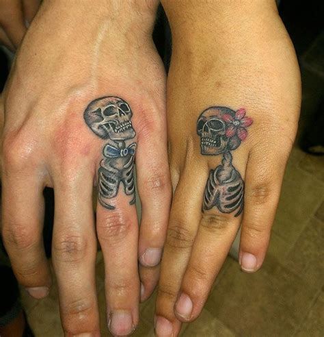 skull wedding ring tattoos