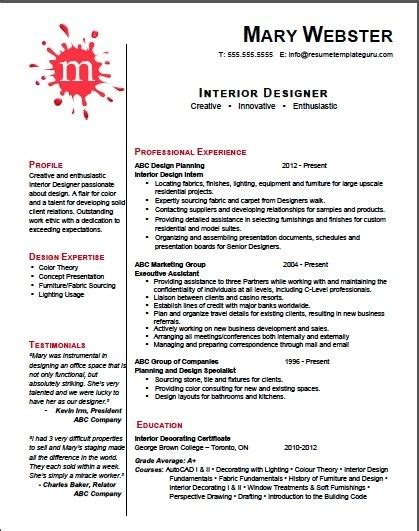 Resumes For Interior Designers by Interior Design Resume Template Best Letter Sle