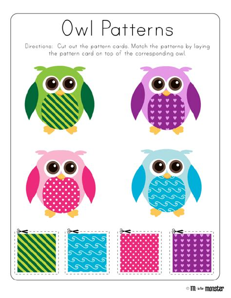 pattern games for infants owl patterns toddler and preschool free printable owl