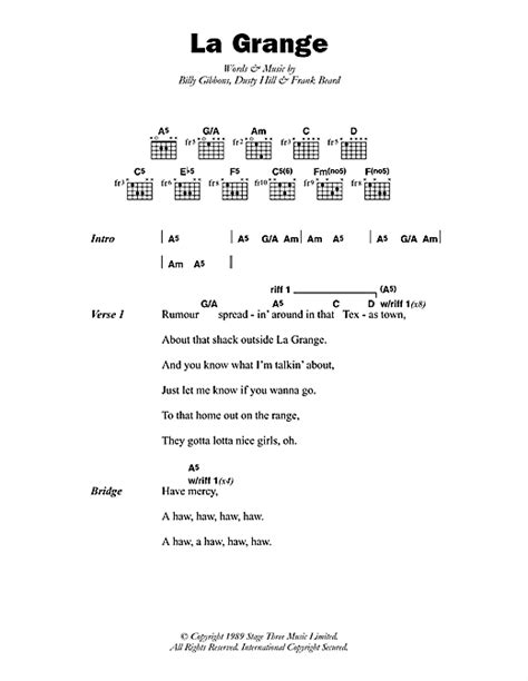 The Grange Zz Top Lyrics by La Grange Sheet By Zz Top Lyrics Chords 46547