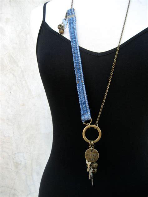 Denim Necklace denim assemblage necklace charm necklace key jewelry denim jewe