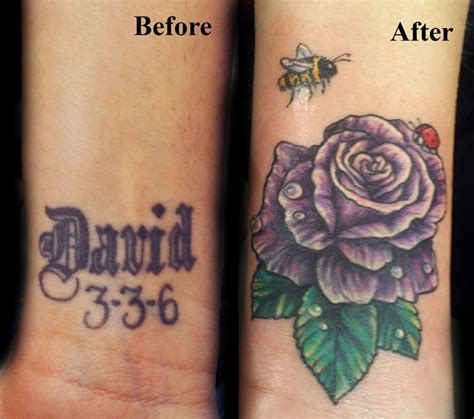 rose tattoo cover up ideas before and after cover up purple