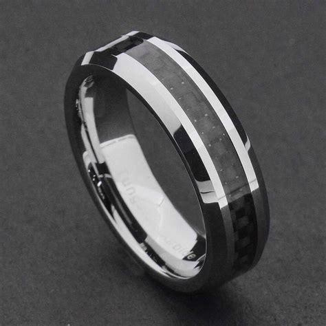 mm tungsten carbide black carbon fiber womens wedding