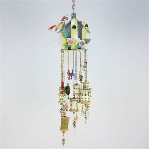 beaded wind chimes mobile beaded sun catcher outdoor wind chimes upcycled