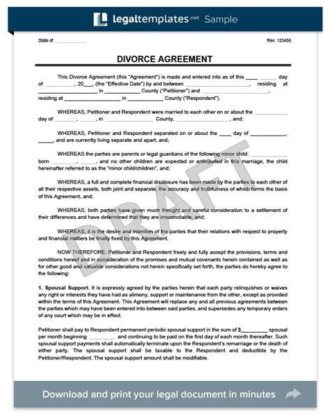 Agreement Letter For Divorce Bill Of Sale Form Indiana Child Custody Form Templates