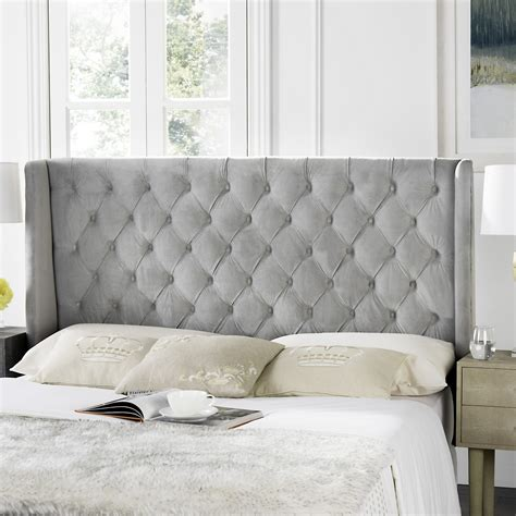 tufted winged headboard london pewter tufted winged headboard flat nail heads