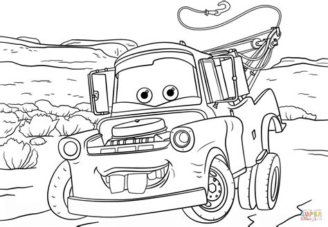 tow mater from cars 3 coloring page free printable