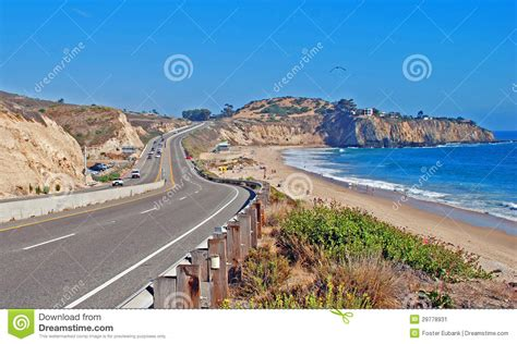 Pch Beaches - pacific coast highway passing by the el moro cground and crystal cove region stock