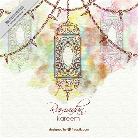 ramadan pattern vector free decorative watercolor ramadan background with lantern