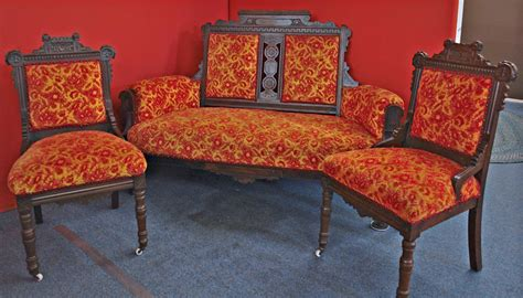 antique eastlake furniture parlor three piece set alice