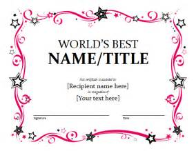 awards certificates templates for word award certificate template sle format