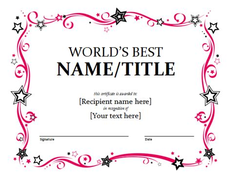 awards certificate template word award certificate template format exle