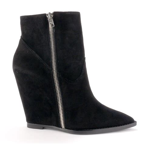 ash julie black suede wedge boots
