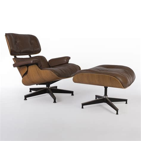 authentic eames lounge chair and ottoman original brown walnut herman miller eames lounge chair