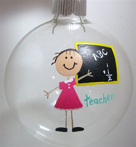 teacher christmas ornament handpainted personalized glass