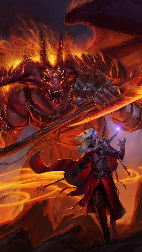 hd background sword coast legends red monster demon art