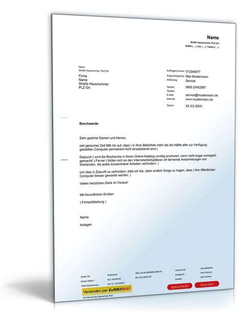 Vorlagen Musterbrief musterbrief paket beschwerden muster vorlagen zum