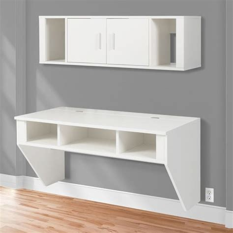 Computer Desk White Finish by Bcp Designer Floating Desk With Hutch White Finish Wall