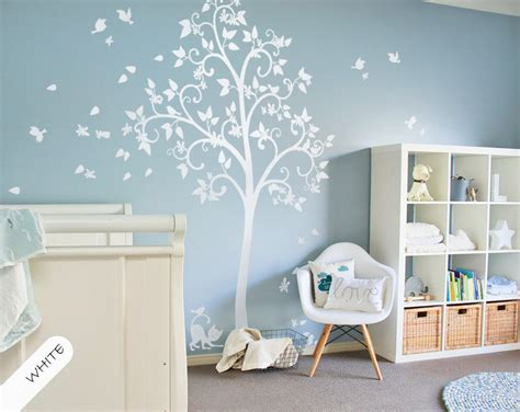 scroll tree wall sticker white tree wall decal scroll branches blossoms leaves and