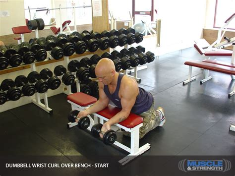 dumbbell wrist curl over bench video exercise guide tips