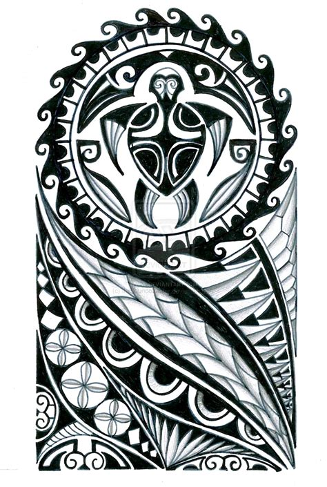 polynesian tiki turtle tattoo design