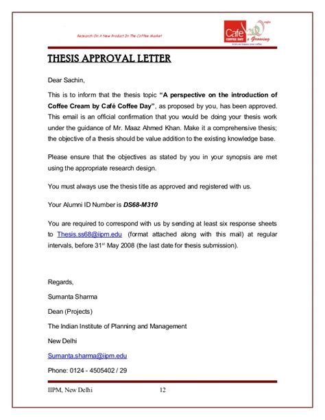 Transmittal Letter For Approval Cafe Coffee Day Thesis Sachin Ds68 M310