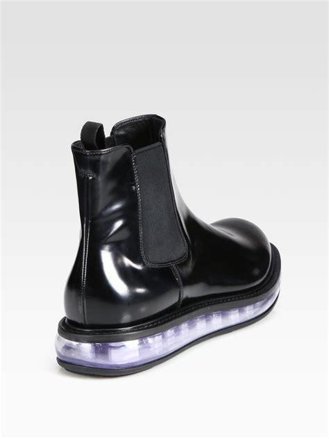 prada chelsea boots mens prada spazzolato leather chelsea boot in black for lyst