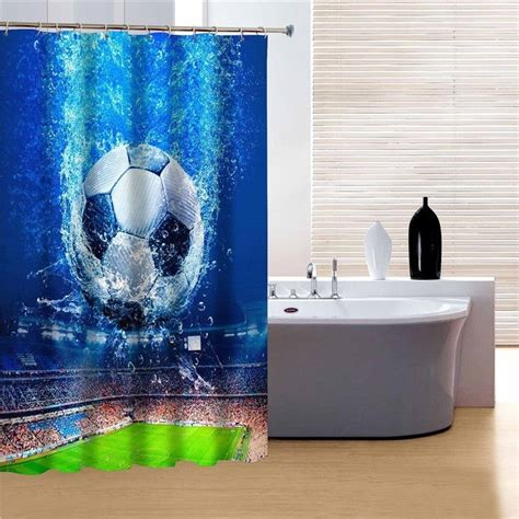 soccer sports shower curtain bathroom decor boys