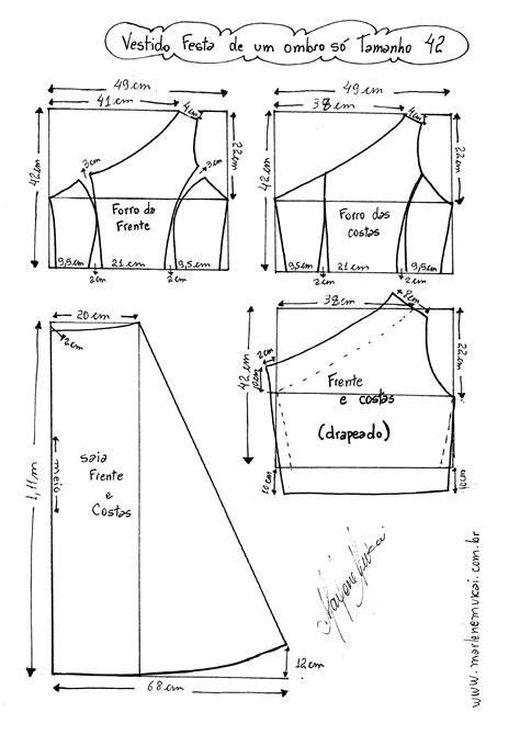 esquema de vestido vestido de festa de um ombro s 243 diy molde corte e