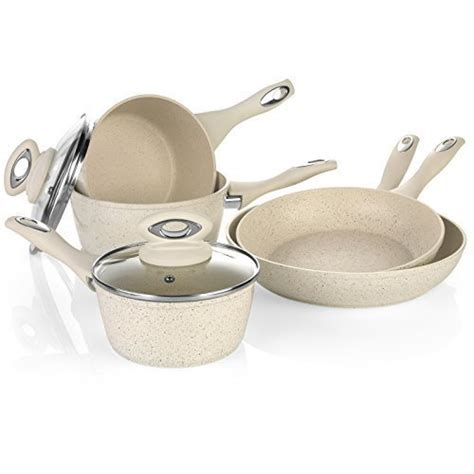 Kitchen Marble Pan Salter 8 Induction Non Stick Marble Coated Pan Set