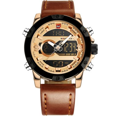 Jam Tangan Analog Pria Navyforce Original Leather Brown Silver navi jam tangan analog digital pria 9097 golden jakartanotebook