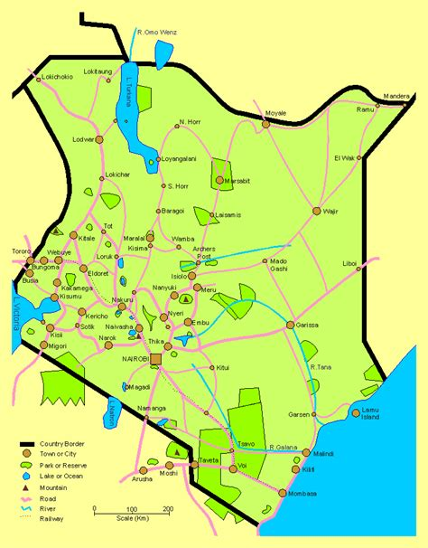 map of kenya africa detailed travel map of kenya kenya detailed travel map