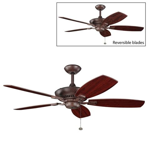 energy ceiling fan with light shop kichler canfield 52 in tannery bronze indoor residential downrod mount ceiling fan light