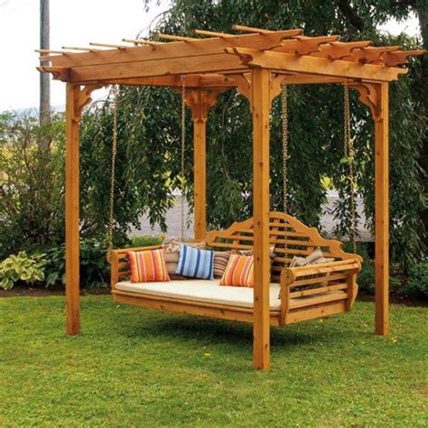 Backyard Discovery Potting Bench Garden Swing A Small Wooden Pergola Near Trees