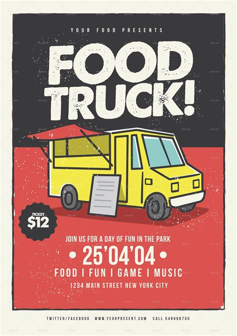Food Truck Flyer By Lilynthesweetpea Graphicriver Food Truck Flyer Template