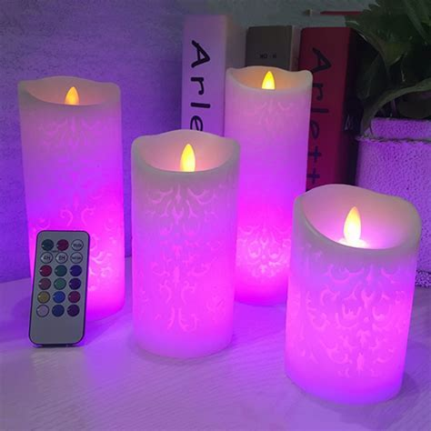 Dancing flame LED Candles with RGB Remote Control,Wax